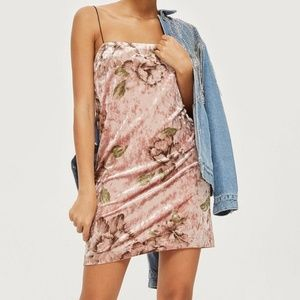 TopShop Mini Dress Pink Floral Velvet Size 6 NWOT